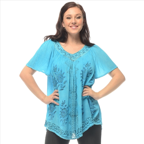 Cape Sleeve Tie Dye V-Neck - Turquoise