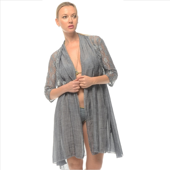 Linen and Lace Cover-Up - Blue