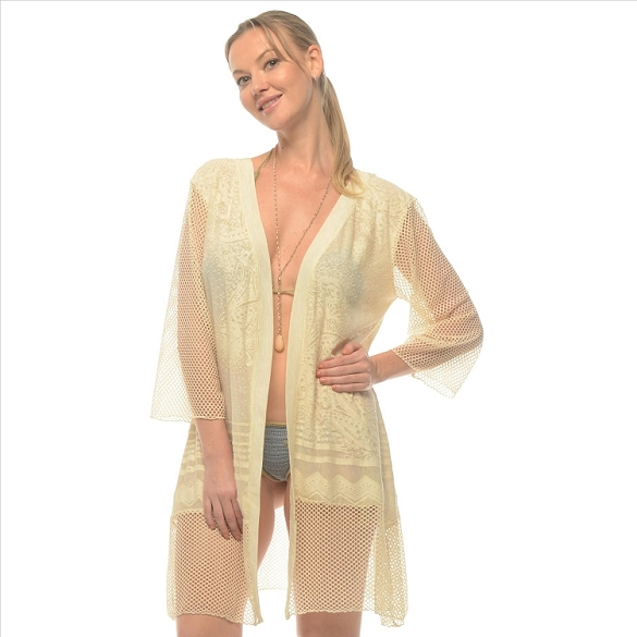 Sheer Lacy Cover-Up - Off White