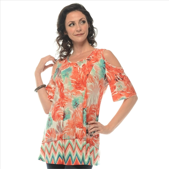 Glam Floral Print Tunic - Coral