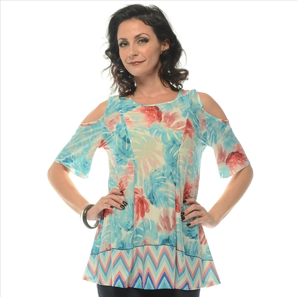 Glam Floral Print Tunic - Mint