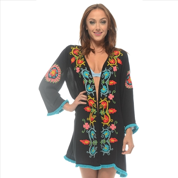Embroidered Cover-Up - Navy