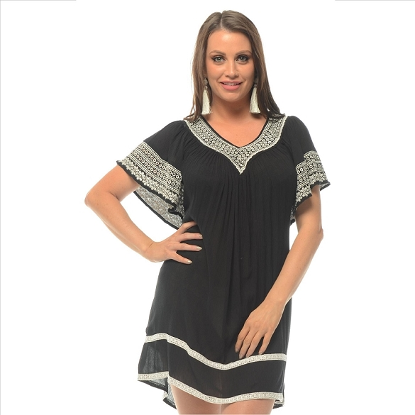 Cape Sleeve Embroidered V-Neck - Black