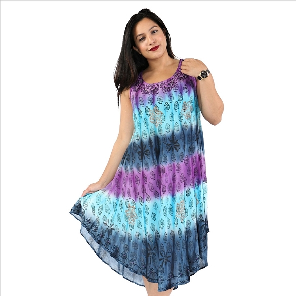 Colorful Tie Dye Dress - Purple/Turquoise