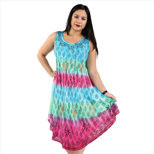 Colorful Tie Dye Dress - Turquoise/Pink