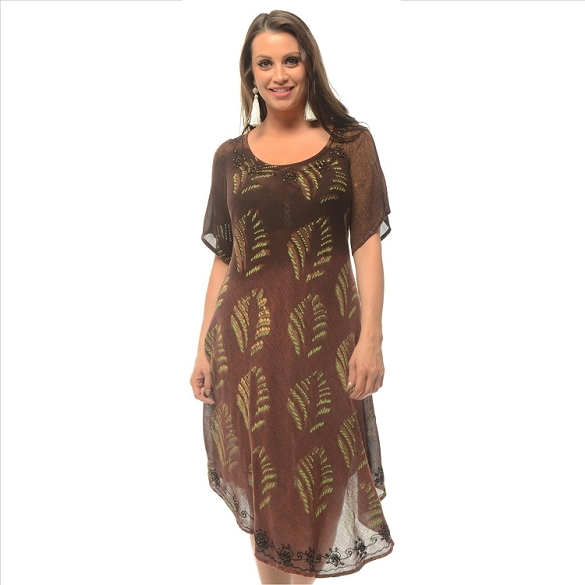 Tie Dye Round Neck Dress - Brown