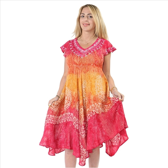 Tie Dye V-Neck Dress - Pink