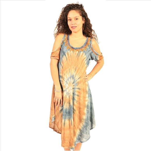 Cold Shoulder Swirl Tie Dye - Blue