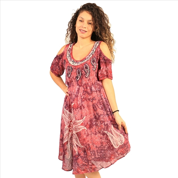 Cold Shoulder Tie Dye Dress - Pink