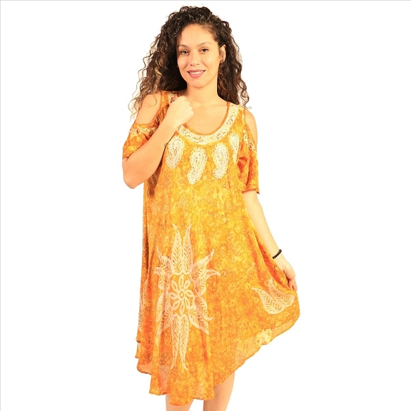Cold Shoulder Tie Dye Dress - Gold