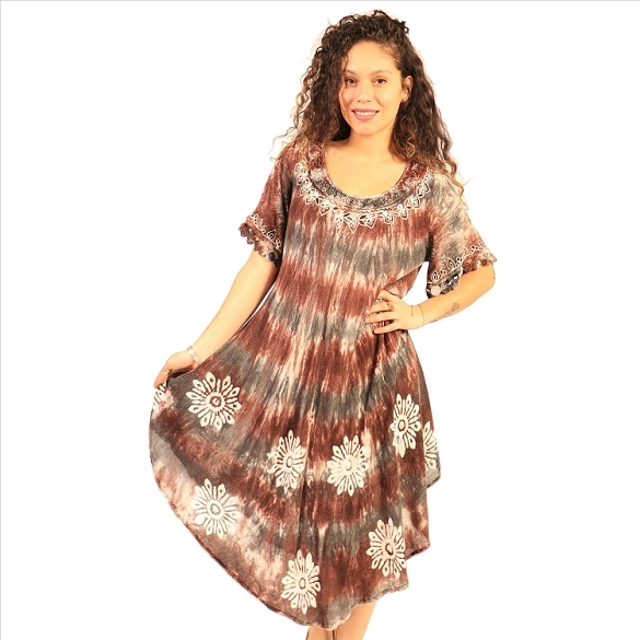 Flowers and Stripes Tie Dye - Brown