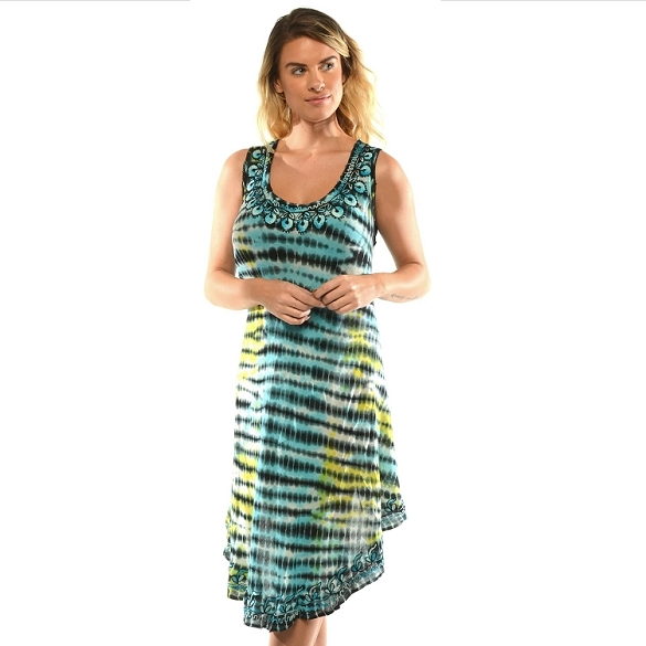 Embroidered Tie Dye Dress - Turquoise