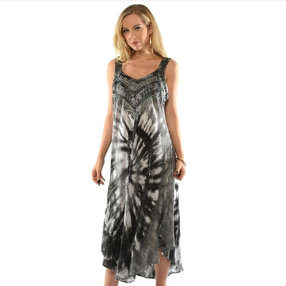 Maxi Embroidered Tie Dye - Black