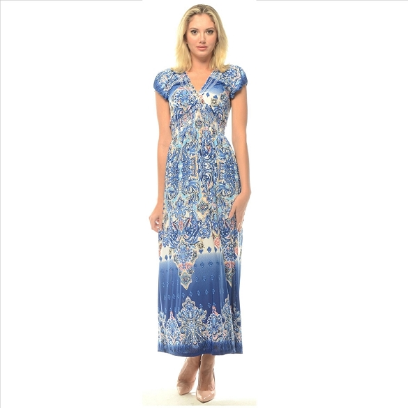 V-Neck Empire Waist Maxi - Blue