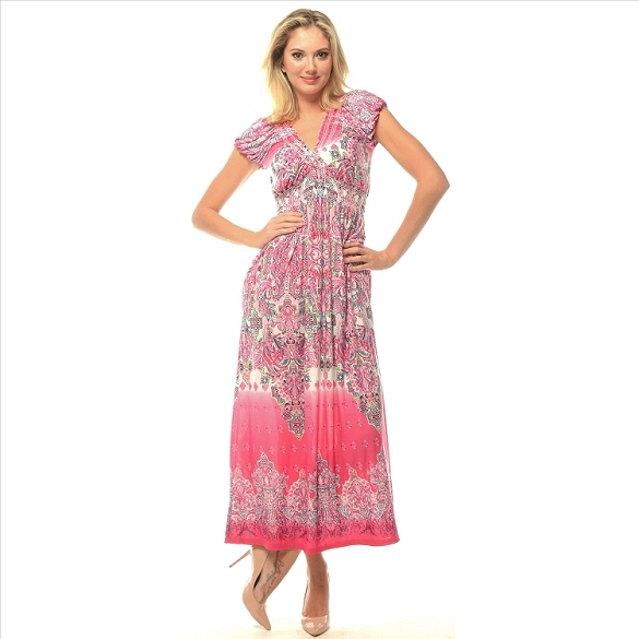 V-Neck Empire Waist Maxi - Pink