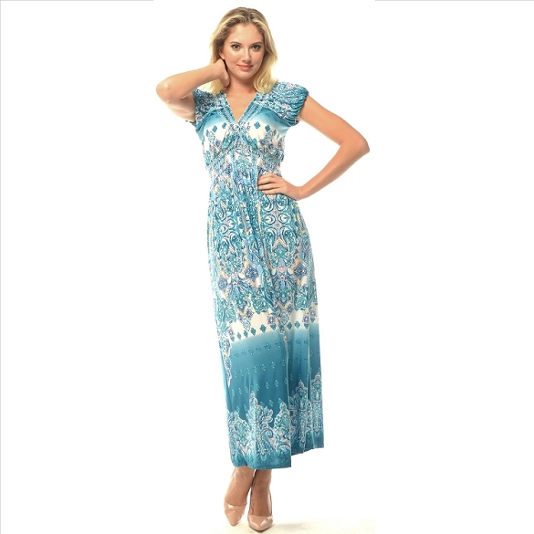 V-Neck Empire Waist Maxi - Mint