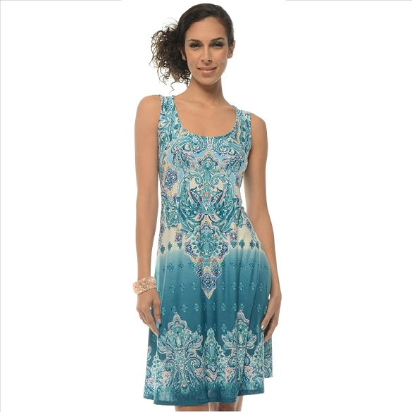 Awesome Paisley Print Dress - Teal Green