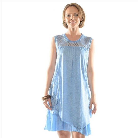 Lace Accent Layered Dress - Blue