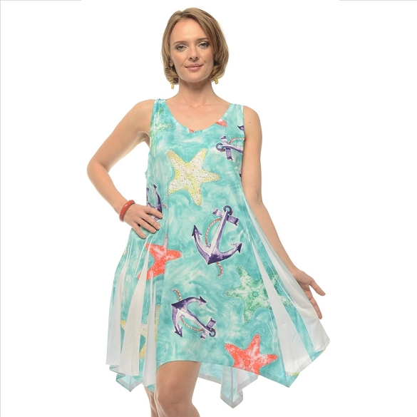 Anchor and Starfish Sundress - Mint