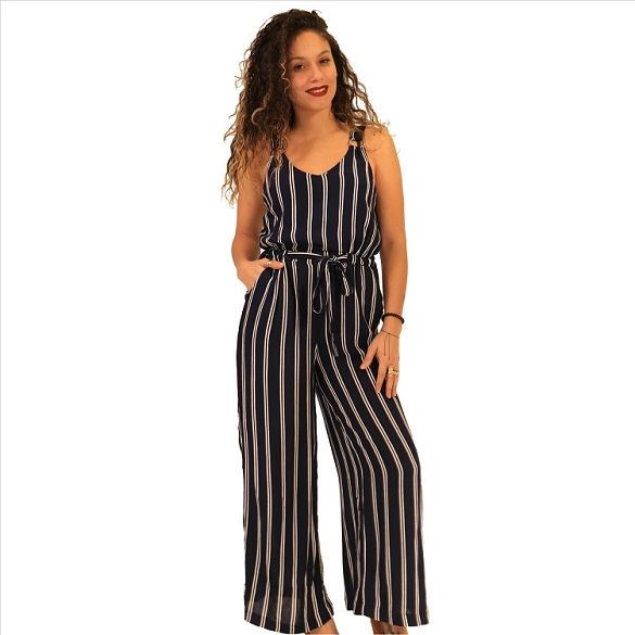 Cinch Waist Pinstripe Jumpsuit - Navy