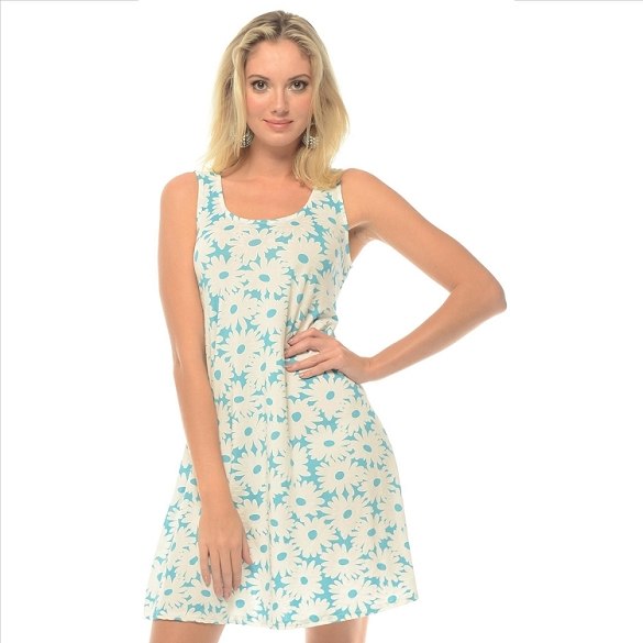Just Daisies Sleeveless Dress - Turquoise