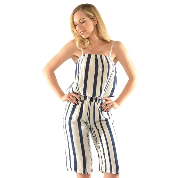 Pinstripe Jumpsuit - White / Blue