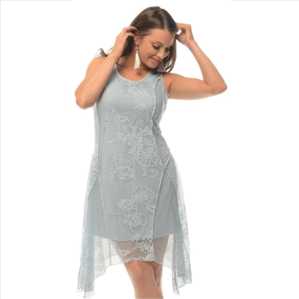 Lace Panel Overlay Dress - Blue
