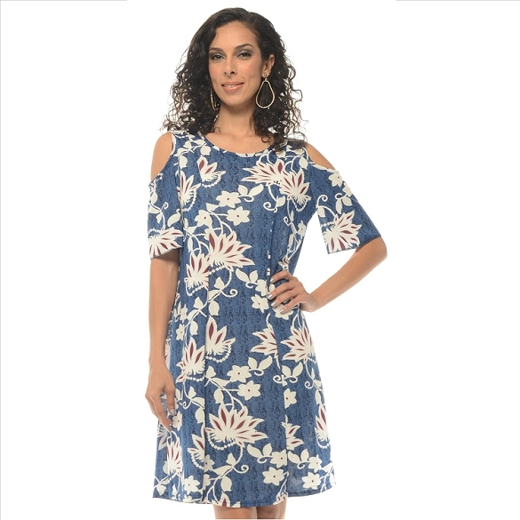 Cold Shoulder Floral - Blue