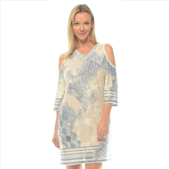 Abstract Print Cold Shoulder - Blue