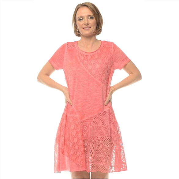 Sheer Accent Panel Dress - Coral