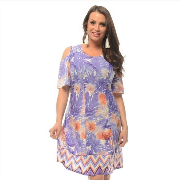 Cold Shoulder Floral Print - Purple