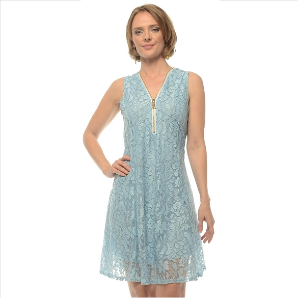 Lace Zipper Front Dress - Blue SAMPLE