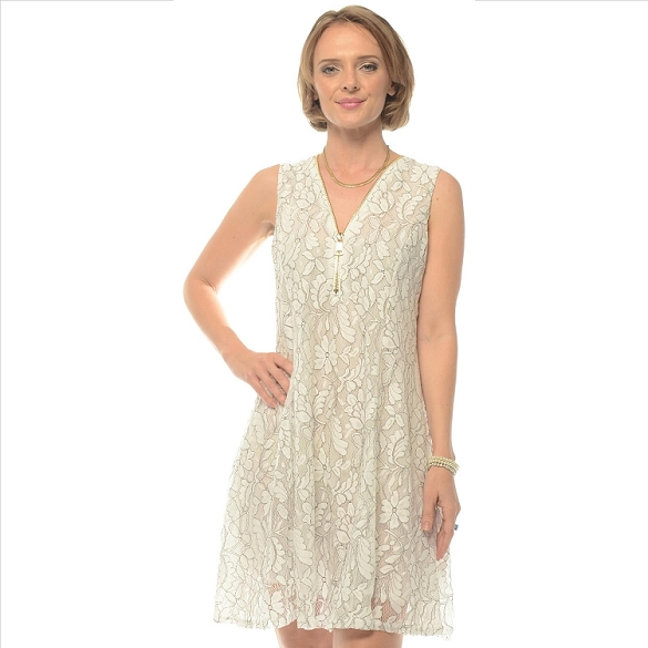 Lace Zipper Front Dress - Off White
