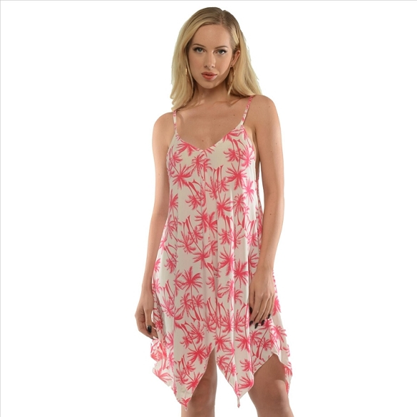Strappy Palm Tree Print - Pink