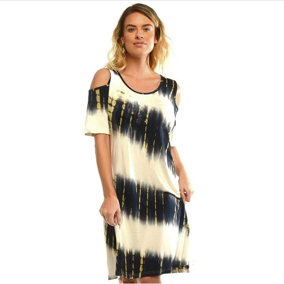 Cold Shoulder Tie Dye - Navy