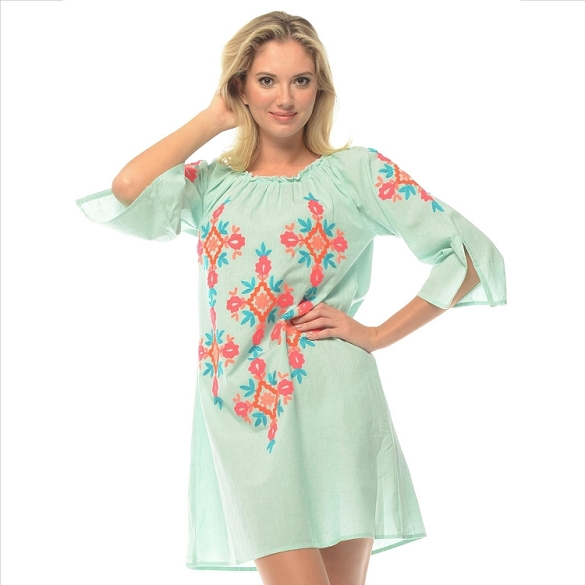 Embroidered Pinstripe Cover-Up - Mint