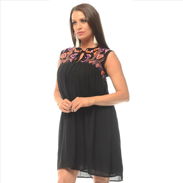 On-Trend Embroidered Dress - Black