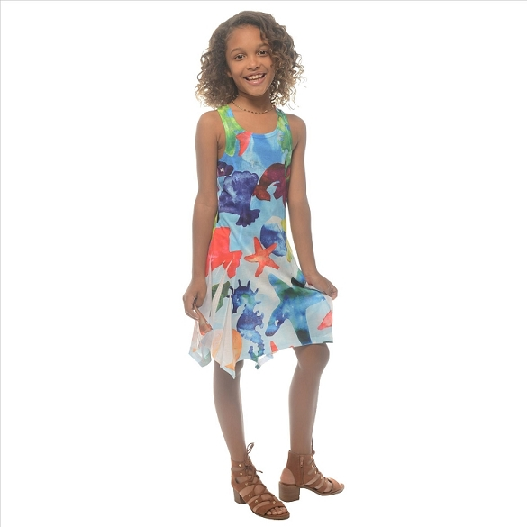 Girl's Ocean Life Dress - Blue