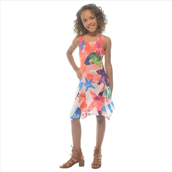 Girl's Ocean Life Dress - Peach