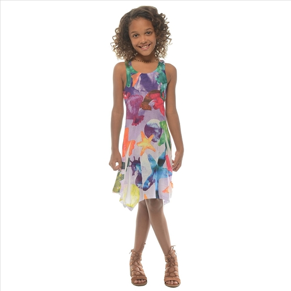 Girl's Ocean Life Dress - Lavender