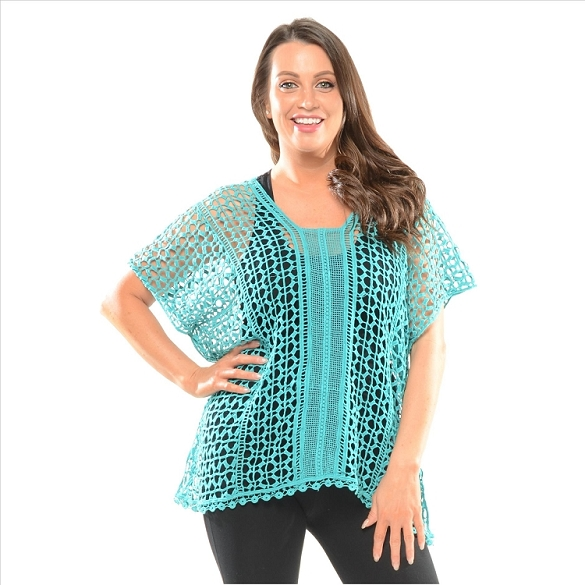 Crochet Sheer Top - Turquoise