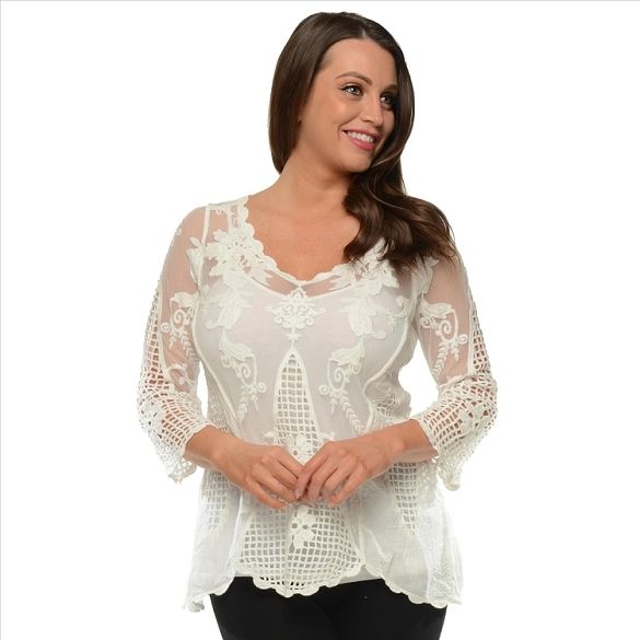 Lace and Crochet Top - White