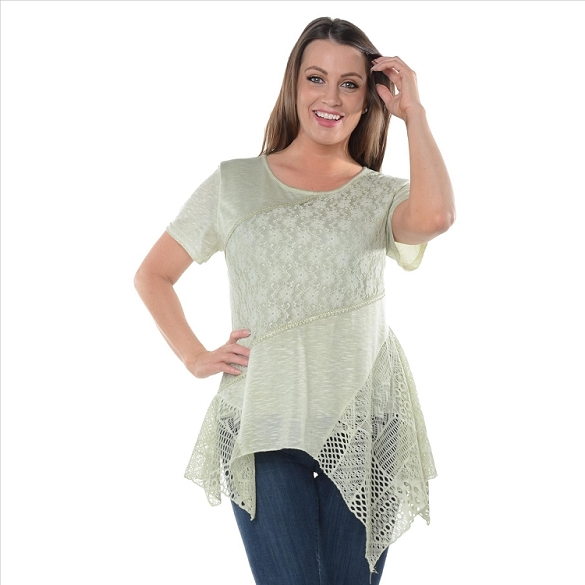 Crochet and Solid Panel Tunic - Sage