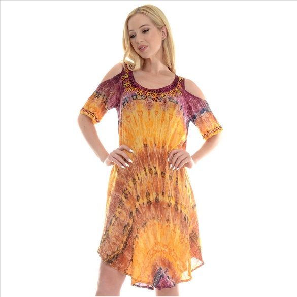 Cold Shoulder Tie Dye Dress - Purple