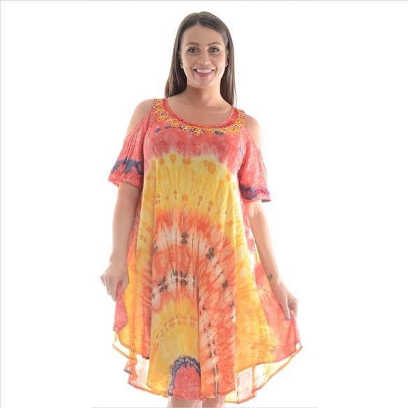 Cold Shoulder Tie Dye Dress - Red / Yellow