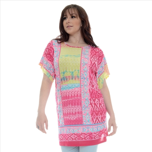 Abstract Print Tunic - Pink