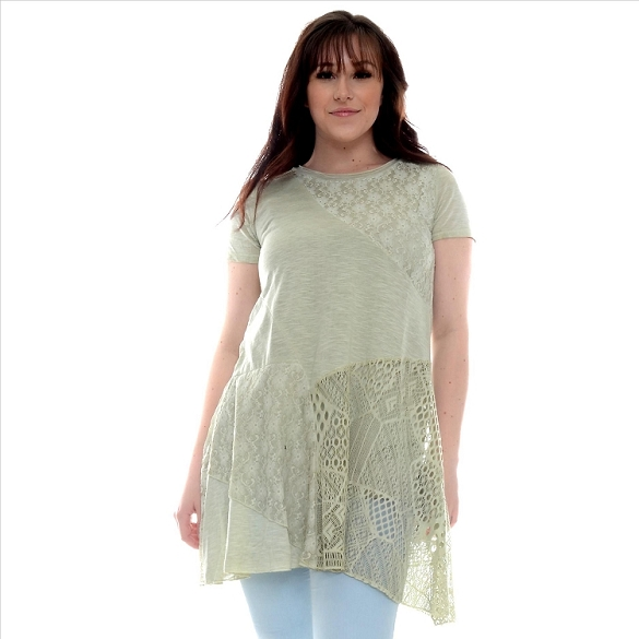 Sheer Accent Panel Tunic - Sage