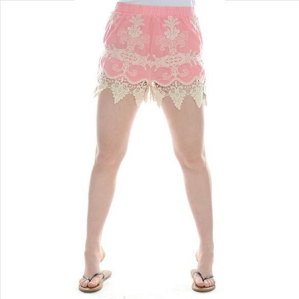 Embroidered Lacy Shorts - Peach
