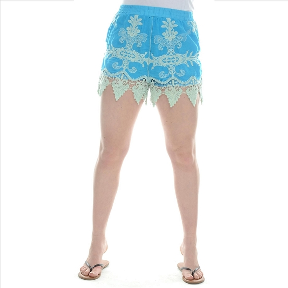 Embroidered Lacy Shorts - Turquoise