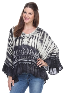 Tie Dye 3/4 Sleeve Hi-Lo Tunic - Black